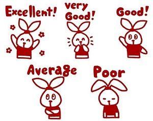 中学校5段階評定をイメージしたウサギのイラスト